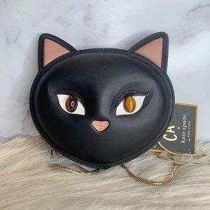 Kate Spade Meow Cat Black Leather CrossBody Bag